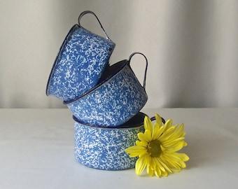 Vintage Enamelware Cups Blue Graniteware Speckleware Set Of Three Enameled Metal Cups Camping Cup Coffee Mugs 1950s