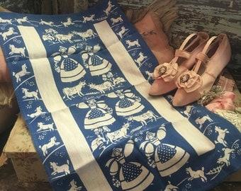 Vintage Printed Kitchen Tea Towel - Linen Blue White Swedish Dutch Farm Girls Sheep Lamb N3