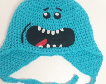 Crochet Mr.Meeseeks Hat / Meeseeks Hat / Funny Character Hat / Earflap Hat / Meeseeks Beanie / Rick and Morty Hat All Sizes Baby Kids Adult