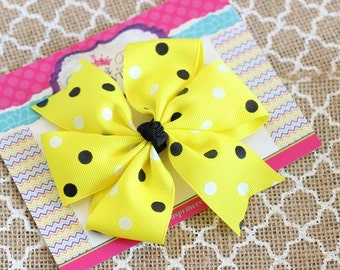 Baby Bows, Toddler Bows, Girls Hair Bows, Hair Clip, Polka Dot Black Yellow White Hair Bow Clip Headband, Pinwheel Hair Bow, 4 Inch Bows