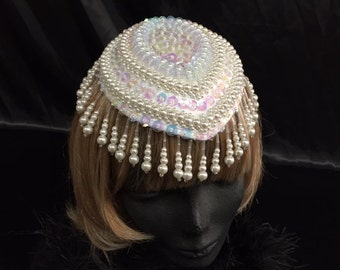 Vintage Iridescent sequin Juliet cap with sparkling bead strands hung from the cap all the way around for a very Gatsby inspired style!