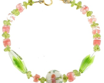 Vintage Green Pink Givre Glass  Peridot Antique Chinese Famille Rose Bead Bracelet