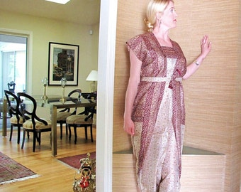 Vintage Silk Sari Dress, Brown and White Block Print by the Old Silk Route