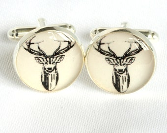 Stag Cufflinks, Stags Head Cufflinks, Stag Party Cuffflinks, nature cufflinks, wildlife cufflinks, , Cufflinks for Stag Parties, Cufflinks