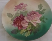 Vintage Decorative China Plate, Green and Ivory with Pink Roses, Hanger on Back