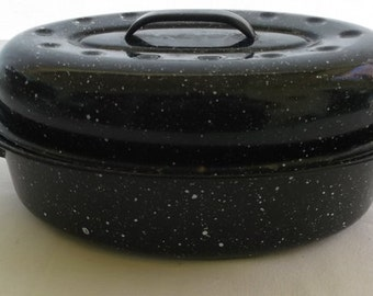 Vintage Graniteware Roasting Pan, Small Black Enamelware Roaster, Chicken Roasting Pan
