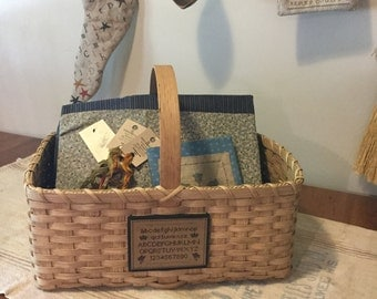 Cross stitch storage basket, handwoven tote basket, farmhouse rustic basket, country cottage