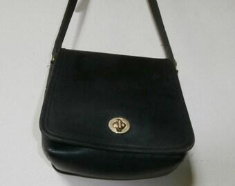 Black Leather Coach Shoulder Bag /  Cross Body Messenger Bag Uni