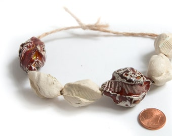 Red Algal Bloom - a set of 6 white and red ceramic beads