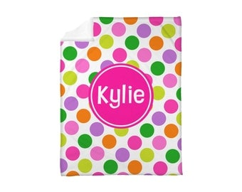 Fleece Blanket Personalized Monogrammed Polkadots Polka Dots Lawn Kiss