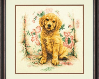 Cross Stitch Kit - SOFT SPOT - Dimensions Counted Cross Stitch Kit - Dimensions Kit - puppy cross stitch, dog cross stitch, pet cross stitch