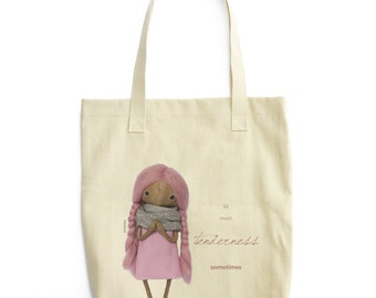 "tote bag ""so much tenderness someimes"" pink"