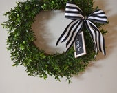 Large Faux Boxwood Wreath French Style Decor Wedding Rustic Vintage style Home Front Door Welcome Preppy
