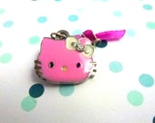 little kitty brooch - little cat- pink cat