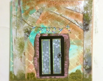 Fairy Door Mixed Media Artwork, 10 x 10 Collage Painting, Faux Birch Bark, Pastel Colors Painting, Fairy Party Decor, Children's Artwork