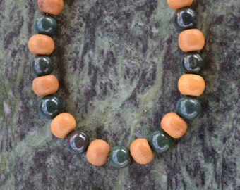 Sandalwood Agate Bracelet, Sandalwood Wrist Mala, Agate Bracelet, Sandalwood Bracelet, Yoga Jewelry, Green Agate, Yoga Bracelet, Yoga, B31