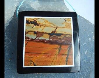Multi-Color Picasso Jasper With Black Stone Intarsia Gemstone Pendant Bead,40x40x7mm,27.1g