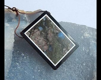 Larvikite,Black Stone Intarsia Pendant Bead,38x27x5mm,15.31g(a0543)