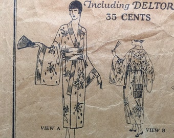 1920s Kimono or Dress Pattern - Butterick - Bust 35 - Flapper Style Robe - ORIGINAL