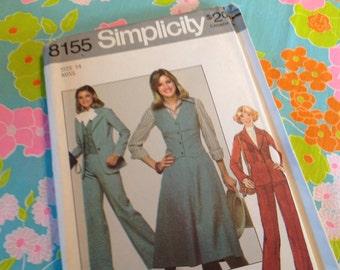 Vintage Simplicity Pattern 8155, 70's pants, skirt, vest, jacket size 14
