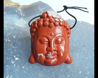 Carved Red River Jasper Buddha Head Gemstone Pendant Bead,31x24x8mm,10.08g