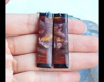 Mookite Jasper,Obsidian Intarsia Earring Bead,41x11x4mm,7.2g