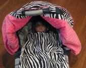 Reserved custom listing for Brittney - Zebra with Hot Pink Fitted Car Seat Canopy with minky lining