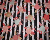 Car Seat Canopy / Cover - Fitted - Black White Stripe and Floral cotton fabric with your choice of piping color