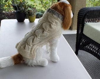 "Use Couponcode HOLIDAY 2106 for a 10 dollar discount Dog Sweater Double Cable Small 14"" inches long Wool"