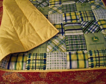"Handmade Baby Quilt  Yellow Madras Plaid Patch  Toddler Bed or  Crib Size  Quilt Comforter  36 "" x  52 ''"