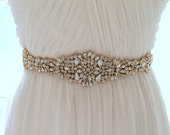 Gold Bridal Crystal Sash. Rose gold Rhinestone Beaded Applique Wedding Belt. Silver Bridal Sash. JEWEL CRYSTAL GOLD