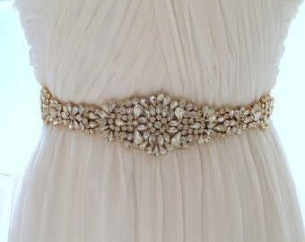 Gold Bridal Crystal Sash. Rose gold Rhinestone Beaded Applique Wedding Belt. Silver Bridal Sash. JEWEL CRYSTAL GOLD