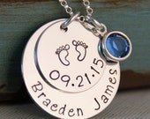 Personalized Mommy Necklace - Hand Stamped Mommy Jewelry- Sterling Silver Jewelry - My Baby Info Necklace (name and date)