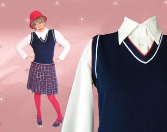 Schoolgirl Outfit Womens Medium Mod School Dress for Spring, Mid Century Washable Preppy Mid Length Plaid Skirt, Navy Blue Vest, White Shirt