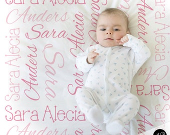 Baby Name Blanket in Pink, personalized name blanket, girl baby blanket, baby shower gift