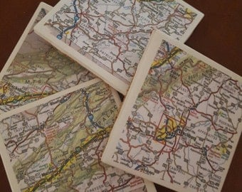 VA Map Coasters...Featuring Roanoke, Lynchburg and the Appalachian Mountains...For Drinjs and Candles
