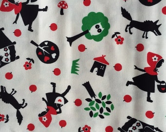 Red riding hood japanese fabric white colour Special offer 110cm x90cm