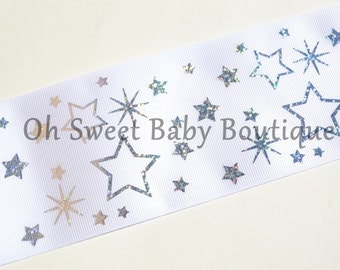 """3"""" White with Silver Holographic Stars  *Cheer Bow Ribbon*"""