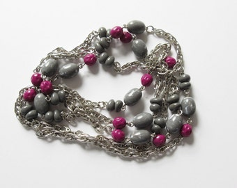 Monet Extra Long Necklace Chain Silver Tone with Beads Vintage Monet Necklace On Sale