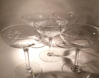 5 Etched Champagne Coupes