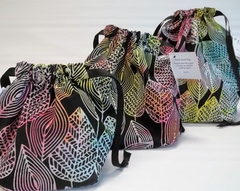 Clearance!  Square bottom drawstring bags in Sassy Leaves - Reversible