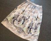 Reserved // 1950s Scenic Novelty Border Print Dance Skirt