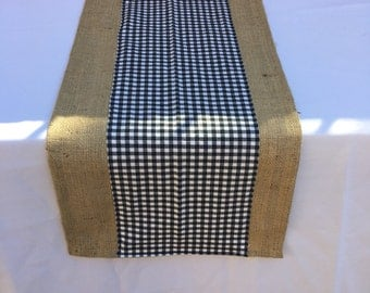Checkered and Burlap Table Runner, Custom Sizes Available, Home Decor, Shower, Wedding, Party Decor
