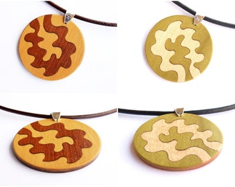 Pendant necklace, Jewelry women, Modern necklace, Wood Inlay Pendant, Round wood pendant, Statement necklace, Wood accessories