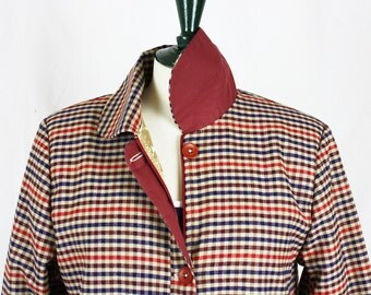 SALE Checked Wool Fabric, Jacket, 50s style, gold lining!
