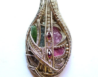 The Heart Key -- Large Exquisite 10-Stone Silver Wire-Wrapped Pendant w/ Tourmaline, Ruby, Rhodizite..