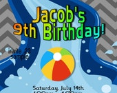 Pool Party Invitation Boys Birthday Party Water Slide Chevron Printable Digital JPEG File #23
