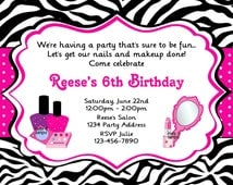 Glamour Girl Invitation Makeup Nail Polish Spa Party Pink and Purple Birthday Party Invite Zebra Print - JPEG Digital File #6