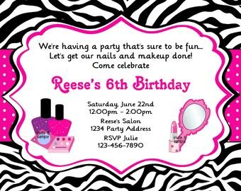 Glamour Girl Invitation Makeup Nail Polish Spa Party Pink and Purple Birthday Party Invite Zebra Print - JPEG Digital File #6
