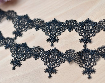 Black Venice Lace Trim Eyelash Embroidered Lace Trim 1.96 Inches Wide 2 Yards